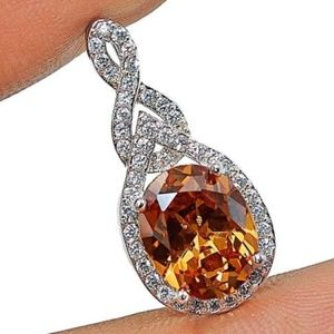 Jewelry - 3CT Padparadscha Sapphire & Topaz 925 Silver